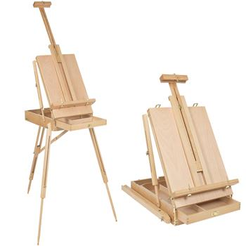 DHX-M Premium Red Beech Portable Sketch Box Oil Painting Easel with Palette 50*34.5*150cm Wood Color