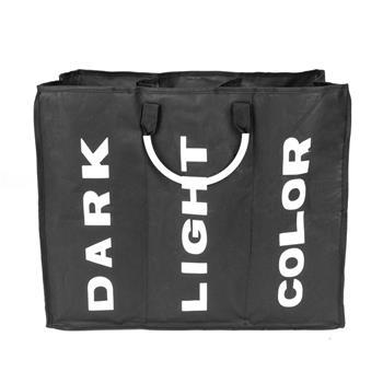 Portable Three Lattice Large Capacity Laundry Basket Black