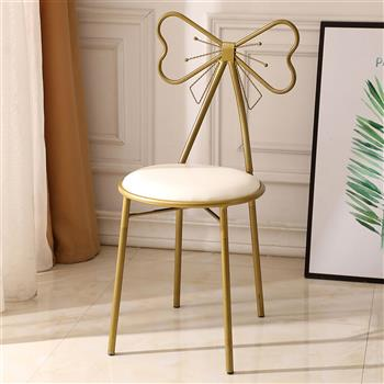 FCH Butterfly BackrestWrought Iron Leather Makeup Stool Dressing Stool White