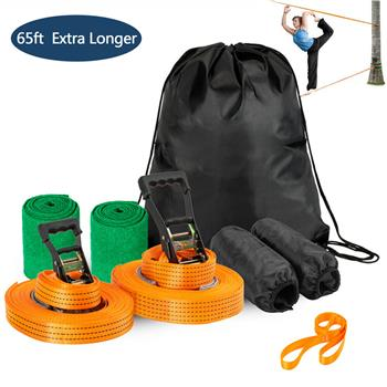 Arm Trainer Line Warrior Training Equipment Slackline Kit for Kids, Extra Longer 65 Feet,Gifts for Boys and Girls