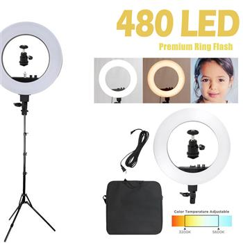 """Kshioe 18"""" LED Ring Lights and 2m Light Stands US Standard Silver(Do Not Sell on Amazon)"""