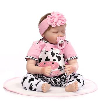 """【Do Not Sell on Ebay】22"""" Mini Cute Simulation Baby Sleeping Baby in Cow Pattern Clothes Pink"""