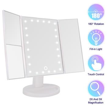 24LED Magnifier Makeup Light 2 Sides 1X Magnification Mirror 1 Side 2X Magnification Mirror 1 Side 3X Magnification Mirror 180 Degree Universal Shaft Touch Switch White Usb Plug-In (Usb Cable Without