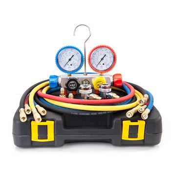 R410 R134 R22 R407C Dual Manifold Gauges Valve Set with Black Plastic Case Red & Yellow & Blue & Bla