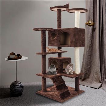 "52"" Solid Cute Sisal Rope Plush Cat Climb Tree Cat Tower Brown"