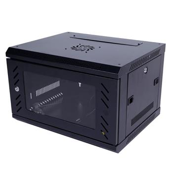 6U Equipped Iron Network Cabinet with Cooling Fan Black