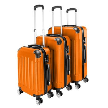 """3-in-1 Portable ABS Trolley Case 20"""" / 24"""" / 28"""" Orange"""