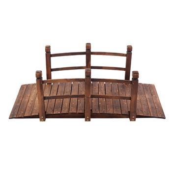 Arch Bridge Small Wooden Bridge Courtyard Outdoor Anticorrosive Wood Landscape Bridge Carbonization Color