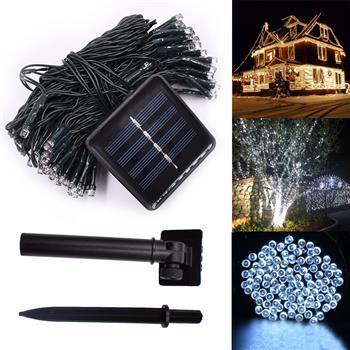 White 100 LED Solar String Fairy Light Christmas Party