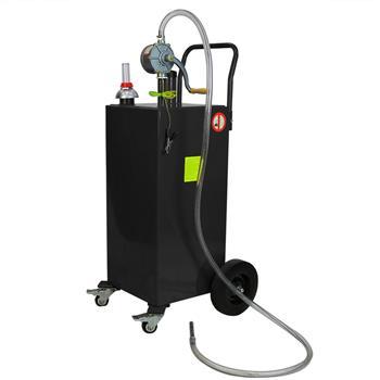 30 Gallon Gas Caddy Tank Storage Drum Gasoline Diesel Fuel Transfer with universal wheel Black JGC30  RAL7021