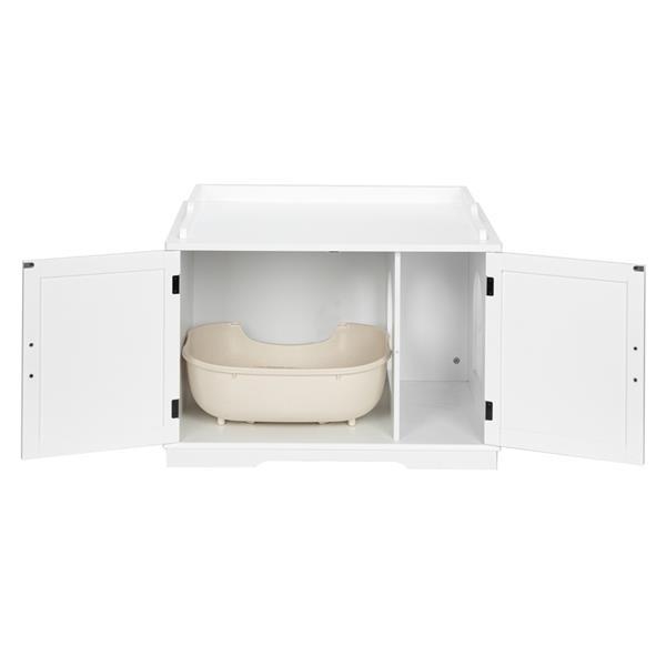 FCH Cat Litter Box Enclosure Cabinet, Large Wooden Indoor Storage Bench Furniture for Living Room, Bedroom, Bathroom, Side Table w/Pet Mat