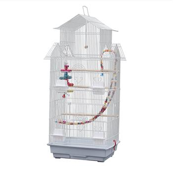 """39"""" Bird Cage Pet Supplies Metal Cage with Open Play Top with three Additional Toys White"""