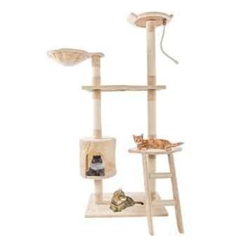 "60"" Solid Cute Sisal Rope Plush Cat Climb Tree Cat Tower Beige"