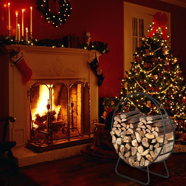 Artisasset Black Paint 40-Inch Round Indoor And Outdoor Iron Fireplace Firewood Stand