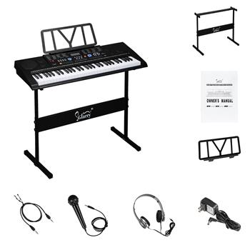 [Do Not Sell on Amazon]Glarry GEP-102 61 Key Portable Keyboard with Piano Stand, Built In Speakers, Headphone, Microphone, Music Rest, LCD Screen, USB Port & Teaching Modes for Beginners