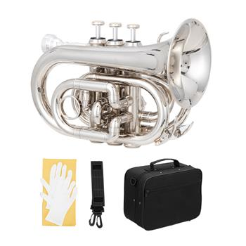 [Do Not Sell on Amazon]Glarry Brass Bb Pocket Trumpet Mini Trumpet with 7C Mouthpiece Silver