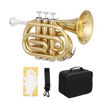 [Do Not Sell on Amazon]Glarry Brass Bb Pocket Trumpet Mini Trumpet with 7C Mouthpiece Golden