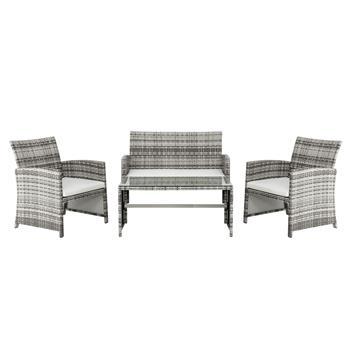 4pcs 1 Double Seat 2 Single Seat 1 Coffee Table Combination Sofa Gray Gradient
