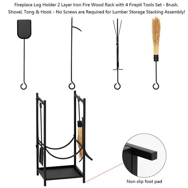 Artisasset Black Paint 33 Inches High Square With 4 Tools Indoor And Outdoor Wrought Iron Fireplace Firewood Stand