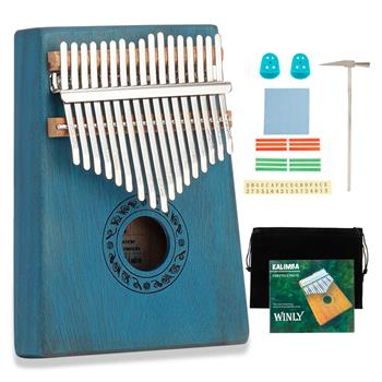 [Do Not Sell on Amazon]17 Keys Kalimba Thumb Piano Mahogany wood for Kids Adult Beginners Blue
