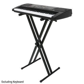 [Do Not Sell on Amazon]Glarry Dual-tube X-Shape Keyboard Stand Black