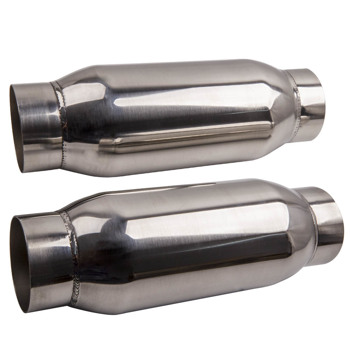 """2pcs 3"""" Inlet Outlet Universal Performance Exhaust Mufflers Stainless Steel"""