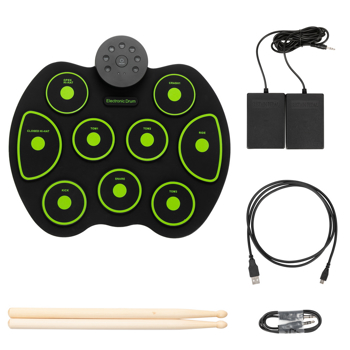 Portable Electric Drum Set 9 Full-Tone Standard Drum Pads with Drum Stick, Headphone Jack and Pedals Multiple Power Supply Methods Best Gift for Christmas Holiday Birthday Green