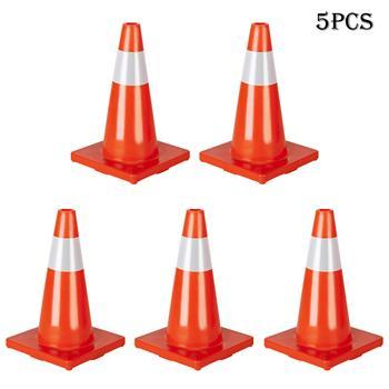 "Oshion 5Pcs Traffic Cones 18"" Orange Slim Fluorescent Reflective Road Safety Parking Cones"
