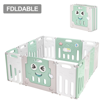 Fordable Baby 14 Panel Playpen Activity Safety Play Yard Foldable Portable HDPE Indoor Outdoor Playards Fence