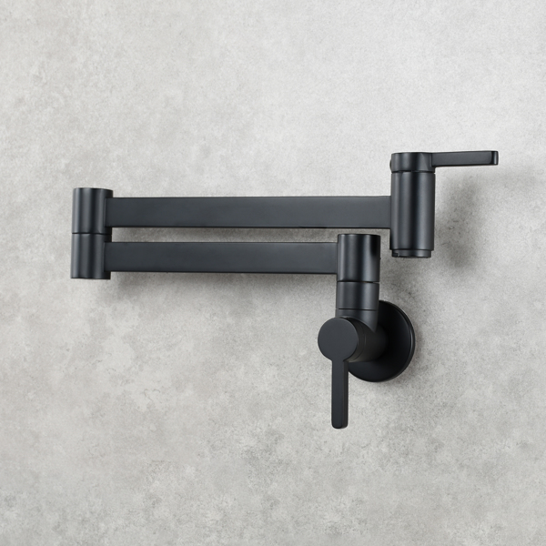 Brass Wall Mounted Foldable Faucet Double Handles Fuacet Cold Water Kitchen Tap Black