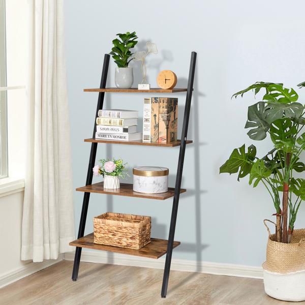 Industrial Ladder Shelf, 4-Tier Bookshelf, Storage Rack Shelves, for Living Room, Kitchen, Office