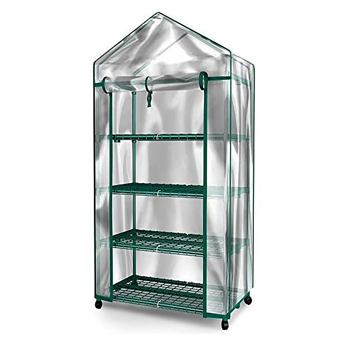Mini Greenhouse - 4 Tiers Indoor Outdoor Greenhouse With wheels-Use in Any Season for Plants