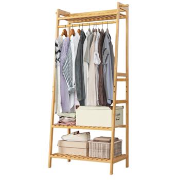 100% Bamboo 3-Layer Portable Practical Storage Clothes Hanger --Natural
