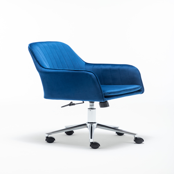 Velvet fabric Home Office Desk Chair with Metal Base Modern Adjustable Swivel Chair with Arms (Blue)