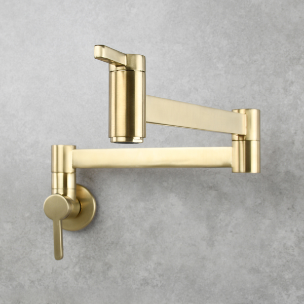 Brass Wall Mounted Foldable Faucet Double Handles Fuacet Cold Water Kitchen Tap Brushed Gold