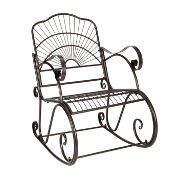 Artisasset Paint Brush Gold Old Outdoor Garden Single Iron Art Rocking Chair Black
