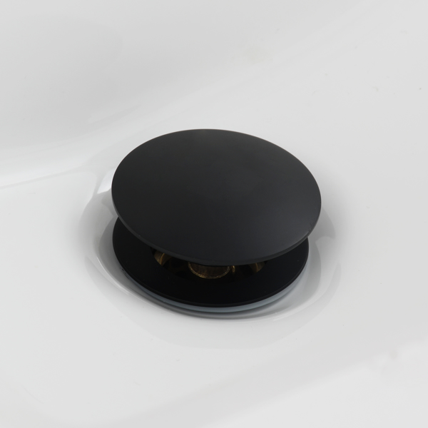Brass Pop Up Sink Drainer with Overflow Bathroom Drain With Removable Strainer Basket Black