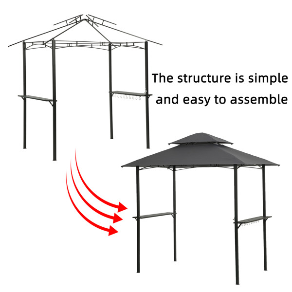 Outdoor Grill Gazebo With Light 8 x 5 Ft Shelter Tent, Double Tierd Soft Top Canopy,Steel Frame With Hook And Bar Counters,Gray