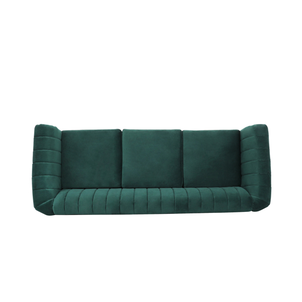 Velvet dark green 3-seater sofa