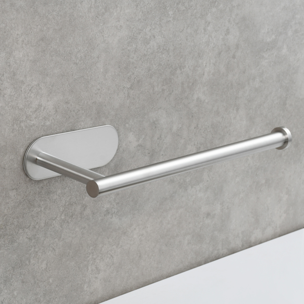 Stainless Steel Towel Holder Adhesive Lengthen Toilet Paper Holderfor 2 Roll Papers, Brushed Nickel