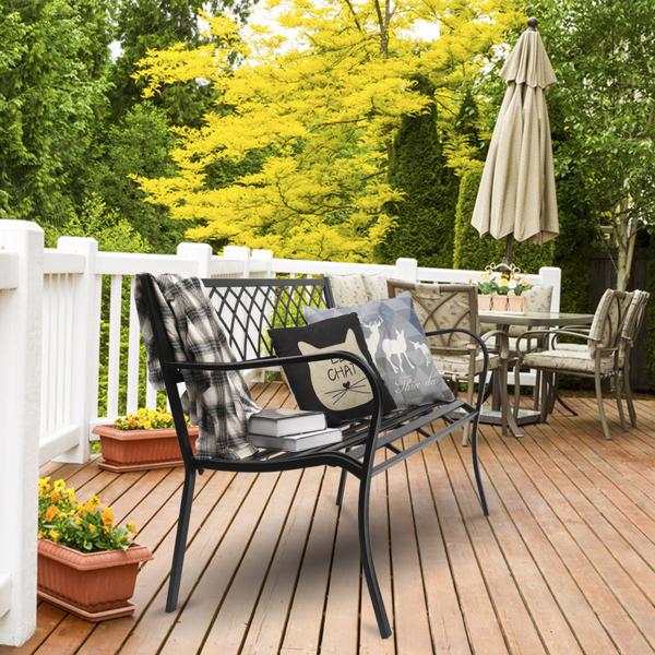 """47"""" Patio Park Garden Bench Porch Path Chair Outdoor Deck Iron Frame Black"""