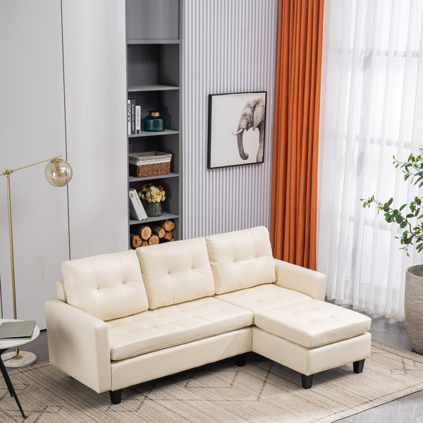 L-shaped Disassembly, Backrest Pull Point, Variable Combination, Three-seat Indoor Sofa, Solid Wood Soft Bag PU 3-3 194*67*83cm White Simple Nordic Style N101