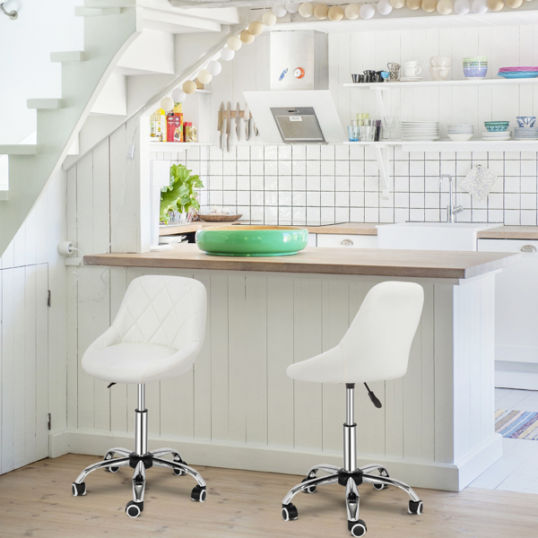 FCH Low Backrest with Checkered Bar Stool White