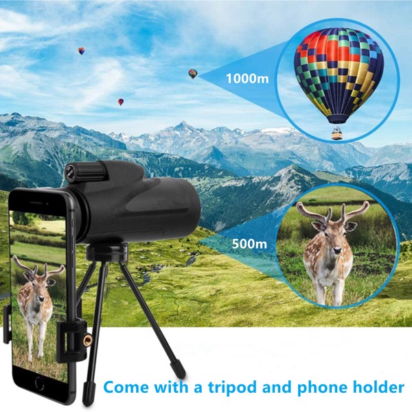 Low Night Vision Monoculars Telescope, 12X50 High Power Monoculars Telescope for Adults Kids with Tripod Smartphone Holder Best Gift for Bird Watching Hunting Camping Travelling