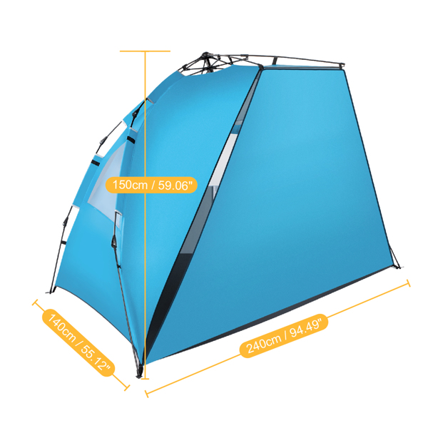 Fiberglass Pole Oxford Cloth Quick-Open Free Ride Beach Tent Blue