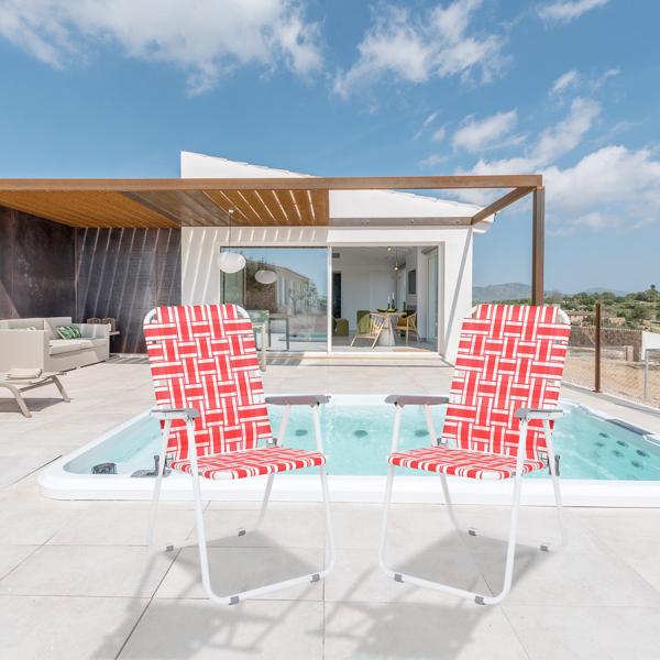 2pcs Steel Tube PP Webbing Bearing 120kg Folding Beach Chair Red & White Strip