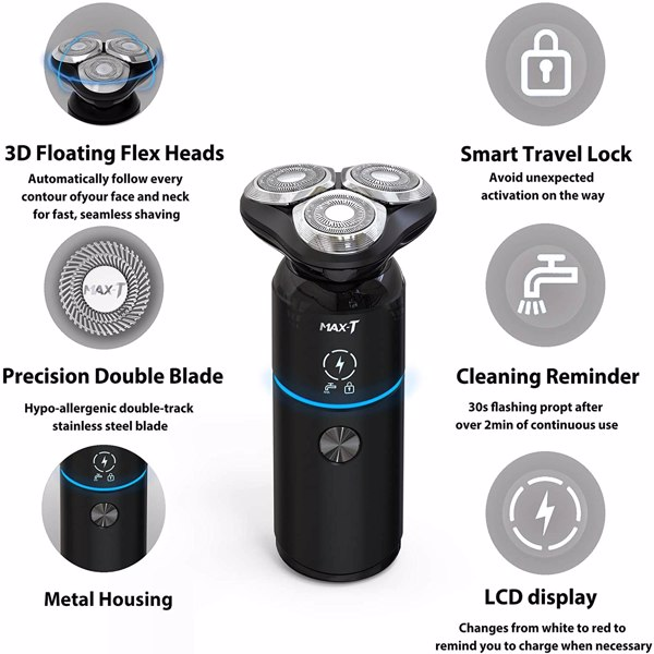 Men Electric Razor, MAX-T Corded and Cordless Rechargeable Travel Rotary Shaver Razor for Men with IPX7 Waterproof(Cannot be sold on Amazon)
