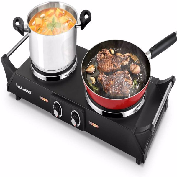 Techwood ES-3203  Electric Burner Adjustable Temperature Hot Plate Non-slip Feet Cast Iron Kitchen Supplies for Home Dorm(Cannot be sold on Amazon)