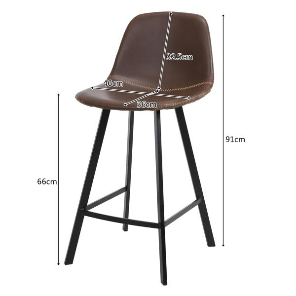 FCH 2pcs Wrought Iron Bar Stool With Curved Feet, Medium Height 46*36*91cm Dark Brown N101