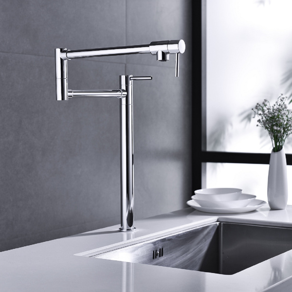 Pot shaped filler folding kitchen faucet with extended handle